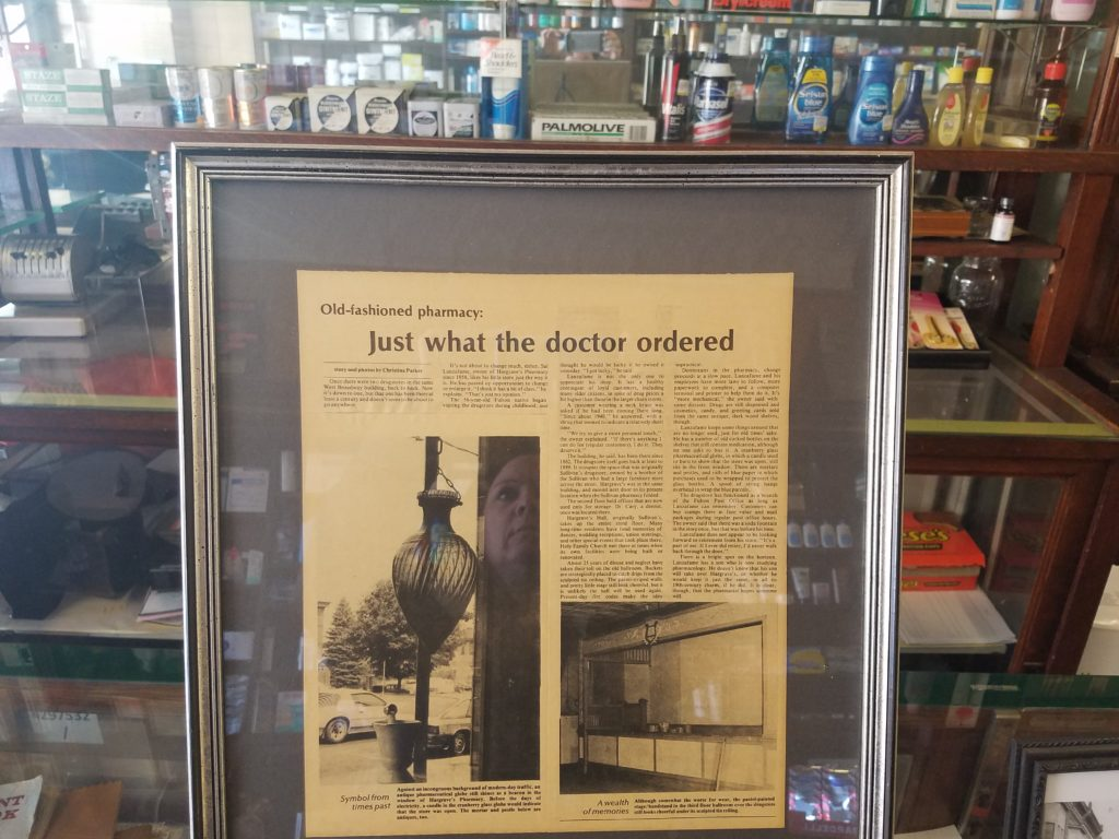 old newspaper article on hargraves pharmacy